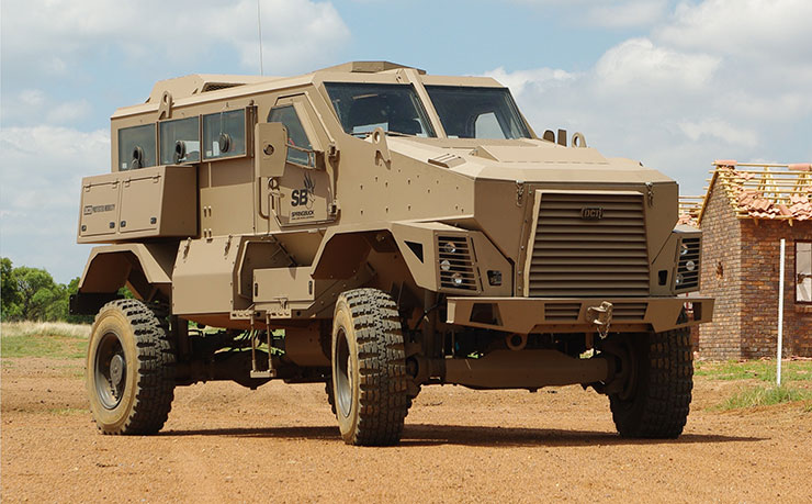 The DCD Defence Springbuck APC  is fitted with complete runflat wheel assemblies from Tyron and South African partner Global Wheel